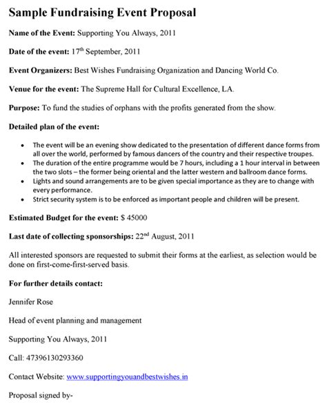 fundraising event proposal template