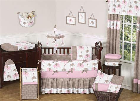 crib bedding set unique pink and brown mod elephant designer baby