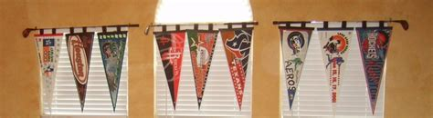 sports gameroom vintage golf clubs and pennants with