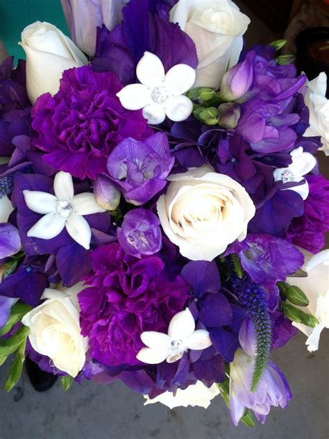 leahs bouquet   purple hydrangea freesia moon