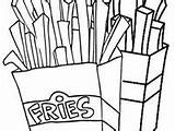 Fries Coloring French sketch template
