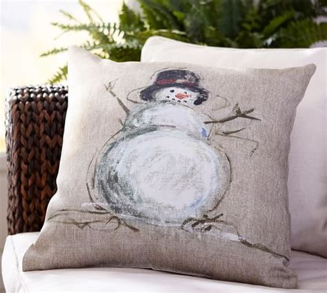 pottery barn outdoor pillows painted snowman indoor outdoor pillow pottery barn