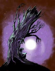Cartoon Tree at Night