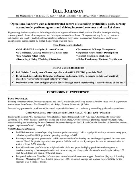 chief operations officer resume resume cover letter exle