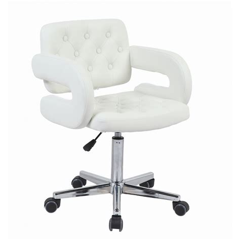 white faux leather swivel office chair