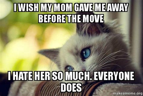 I Wish A Mother Would Meme - i wish my mom gave me away before the move i hate her so much everyone does first world cat