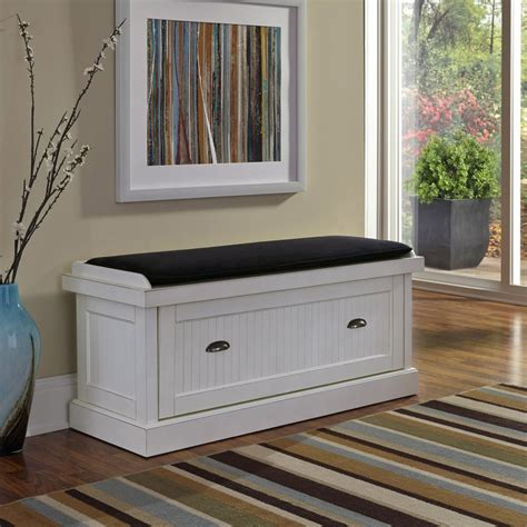 Nantucket Distressed White Upholstered Bench  Home Styles