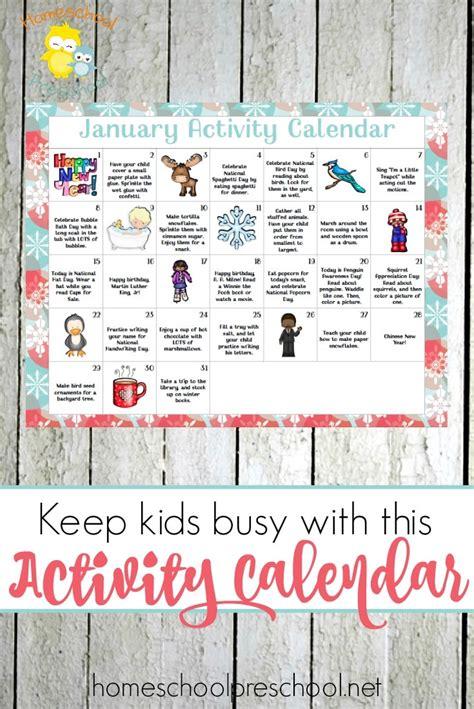 free january preschool activity calendar free homeschool