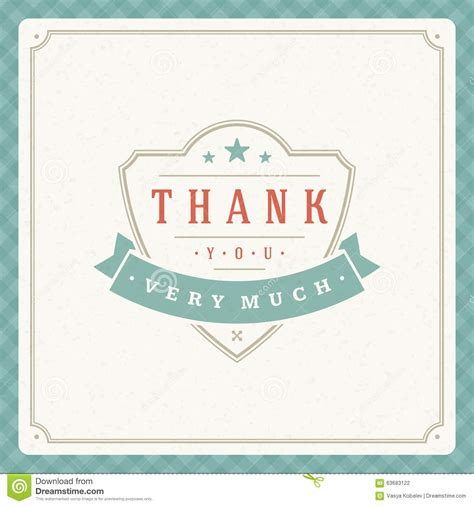 thank you typography message vintage greeting card stock vector illustration of place
