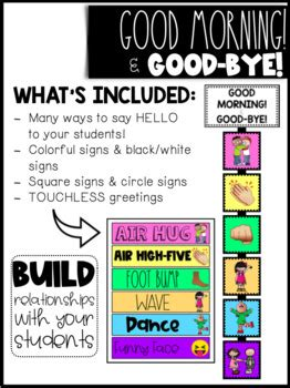 good morning goodbye greeting signs   lowers
