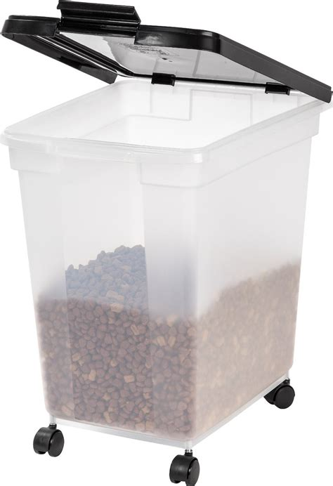 iris airtight pet food storage container clearblack