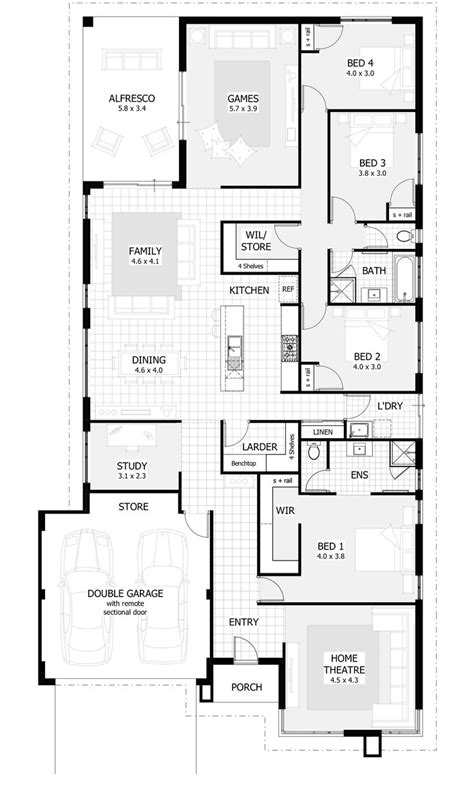 house plans with 4 bedrooms 25 best ideas about 4 bedroom house on 4 bedroom house plans blue open plan