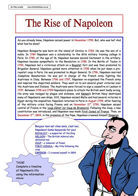 the rise of napoleon facts worksheet year 8 9 task