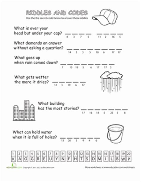 riddles and codes 1 worksheet education