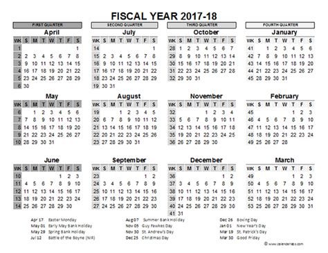 fiscal calendar uk template printable templates