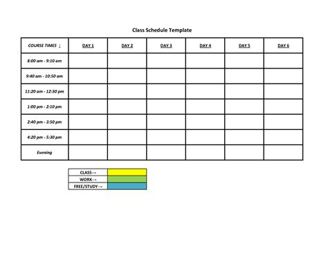 Weekly Work Schedule Template Free by 6 Best Images Of Free Printable Class Schedule Template
