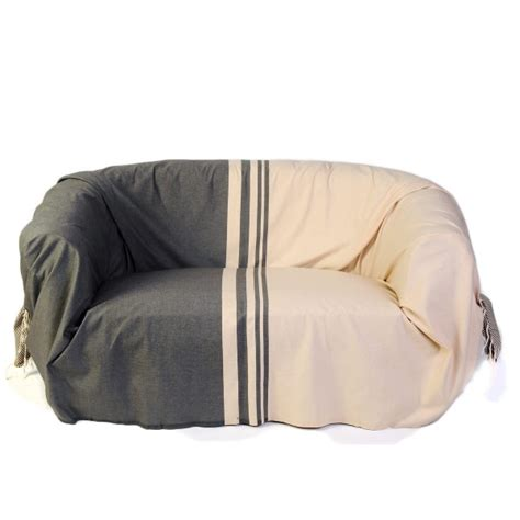 jetee canape jeté de canapé 2 x 3m en coton fouta écru et taupe t2
