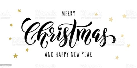 Merry Christmas Gold Greeting Card Poster Glitter Stock
