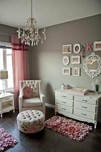 Chambre bebe fille en gris et rose 27 belles idees a for Chambre bébé design avec fleur livrer le jour meme