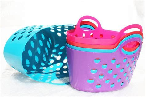Multi Colored Plastic Baskets with Dual Handle Storage