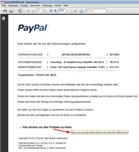 paypal phishing versuch inkl rechnung im dateianhang