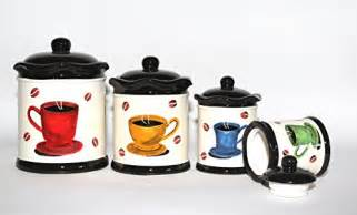 Coffee Themed Kitchen Canisters Stylish Set Of 4 Tuscany Painted Coffee Bean Cup Themed Kitchen Canisters