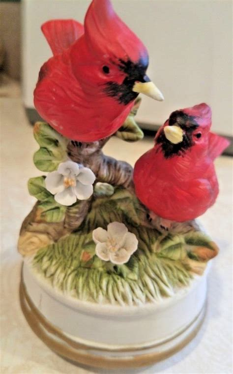 | music boxes └ decorative collectibles └ collectibles all categories antiques art automotive baby books business & industrial cameras & photo cell phones & accessories clothing, shoes & accessories. Plays 'Edelweiss'. Porcelain Cardinal Music Box. | eBay! | Cardinal birds, Music box, Vintage