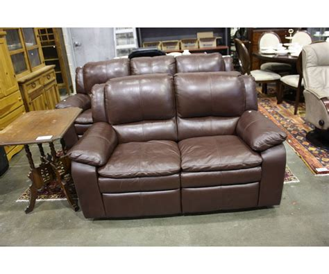 2pcs Contemporary Brown Leather Reclining Sofa And Love