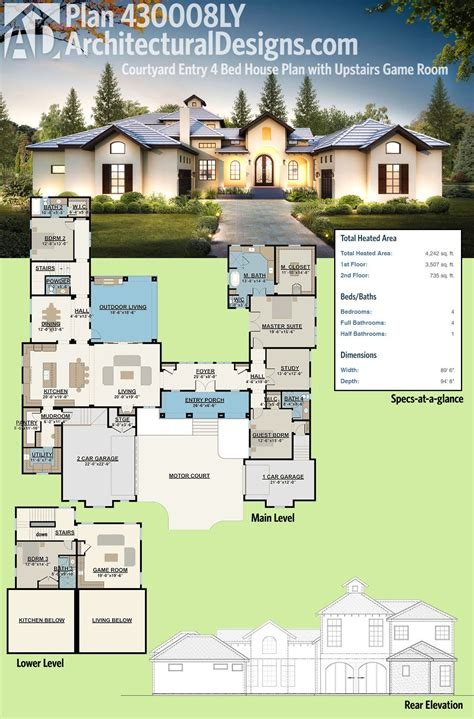plan ly courtyard entry  bed house plan  upstairs game room courtyard house plans