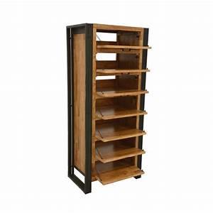 Meuble Bois Metal : meuble chaussures bois recycl naturel et m tal noirci 7 tiroirs 65x40x150cm docker ~ Teatrodelosmanantiales.com Idées de Décoration