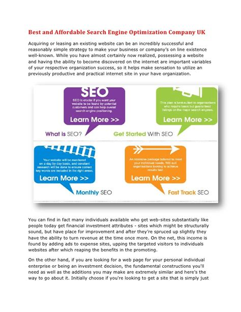Top Search Engine Optimization Companies - best and affordable search engine optimization company uk