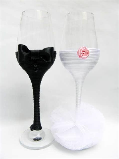 hand decorated wedding champagne glasses handmade
