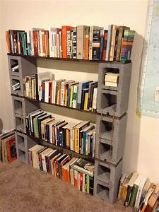 Cinder, Block, Bookshelf, With, Walnut, Stained, Shelves, And, Hemp, Structural, Supports, Made, June, 2014