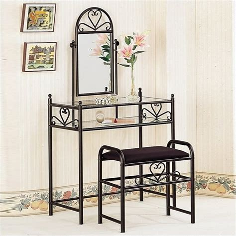 Fingerhut Bedroom Furniture by Coaster Frosted Black Wrought Iron Makeup Vanity Table Set