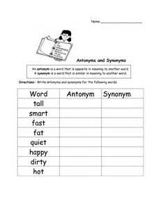 Antonyms and Synonyms Worksheets 1st Grade