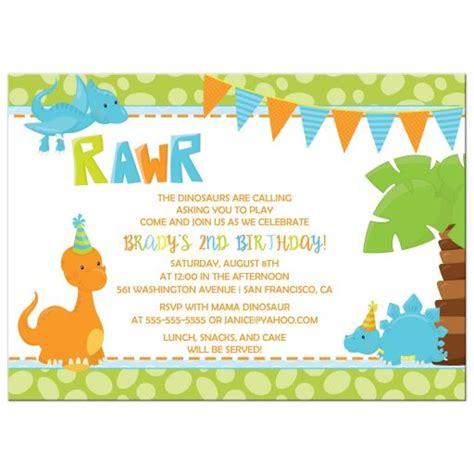 Birthday Party Invitation Boy Dinosaur in Orange Blue