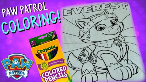 Paw Patrol Coloring Pages Paw Patrol Everest Kids Youtube