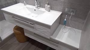 Meuble Salle De Bain Moderne : meuble d cal dans une salle de bains moderne et design ~ Nature-et-papiers.com Idées de Décoration