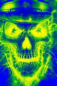 Neon Skull Blue Green Rumble