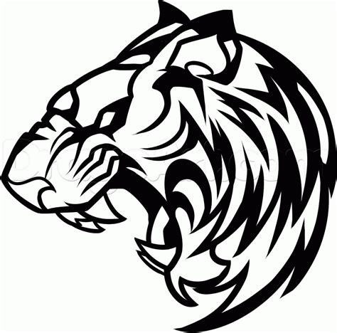 draw  roaring tiger step  step rainforest