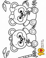 Panda Coloring Baby Pages Cute Printable Leave sketch template