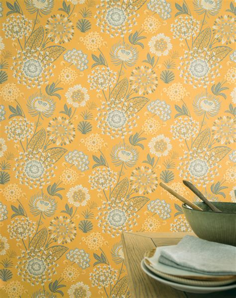 arthouse vintage bloom mustard yellow wallpaper