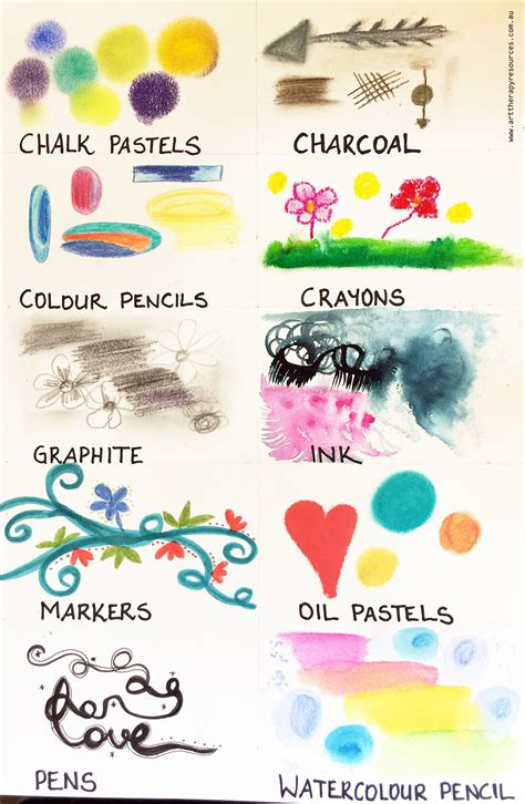 art mediums art therapy resources