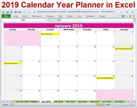 calendar printable yearly monthly editable excel digital