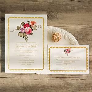 Bohemian floral foil pressed wedding invitations ewfi003 for Wedding invitations with real flowers