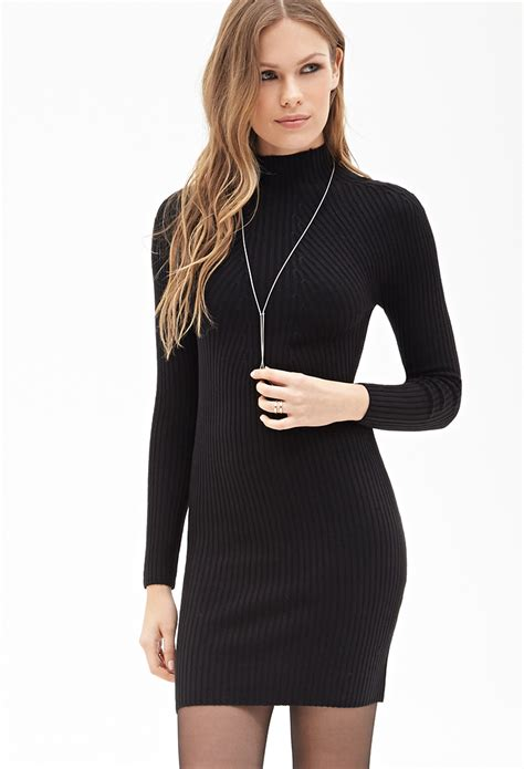 forever 21 sweater dress forever 21 ribbed high neck sweater dress in black lyst