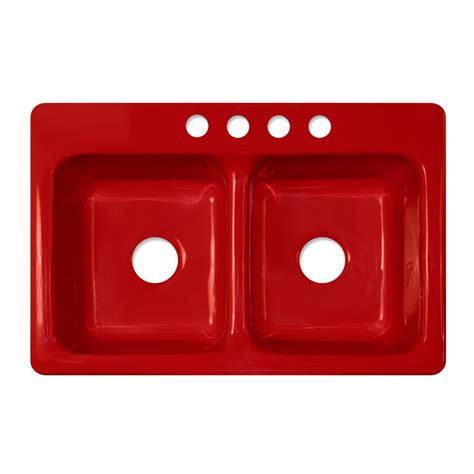 Shop Corstone Greenwich Gloss Red Doublebasin Acrylic