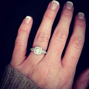 show me your contoured bands with your cushion cut halo e With wedding bands that go with halo rings