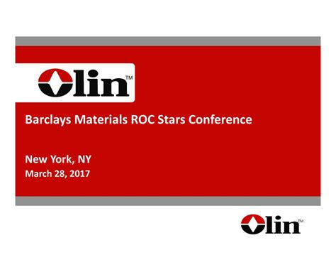 Olin Corporation (OLN) Presents At Barclays Materials ROC ...