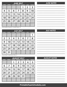 June July August Calendar 2017